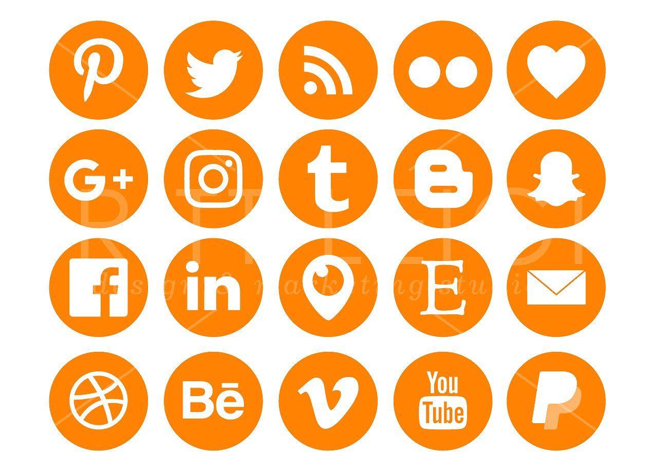 Ripe Orange Social Media Icons Pack Social media icons
