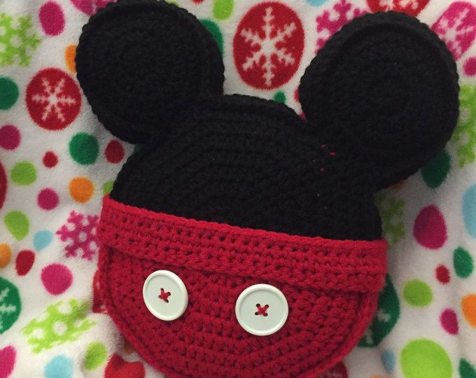 Made to order Crochet pillow Minnie Mouse inspired icon mouse ears ...