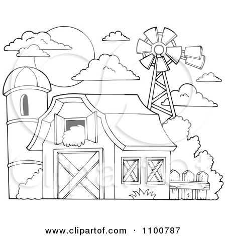 black and white cartoon barn clipart outlined barn with hay in the loft a silo - Barns Coloring Pages Farm Silos