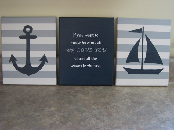 Nautical Nursery Wall Decor Baby Boy 8x10 Paintings Sailboat Anchor Whale Theme Count The Waves On Etsy 50 00