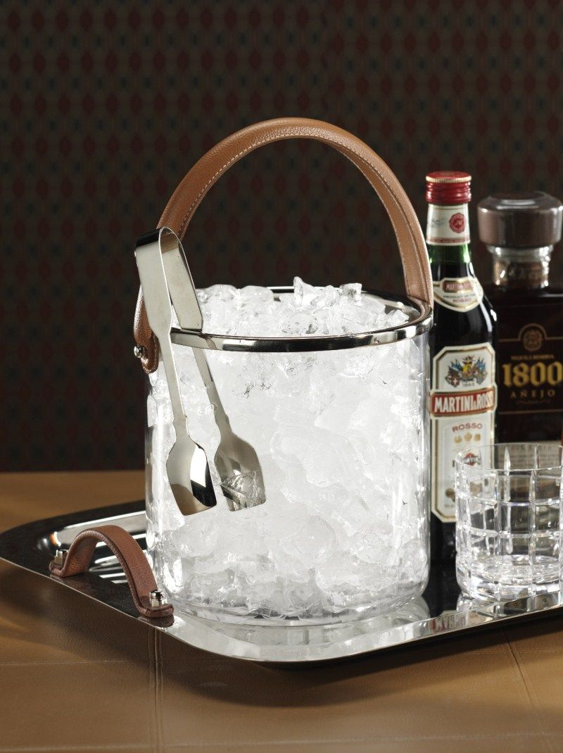 Barclay Butera Equestrian Ice Bucket W. Leather Handle By Zodax Ice Bucket & Chillers - Home Brands USA