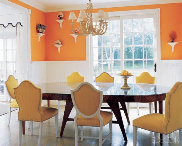 Uma pintura laranja e amarela ir deslumbrar seus convidados tente sherwin williams tango sw Colores pared comedor