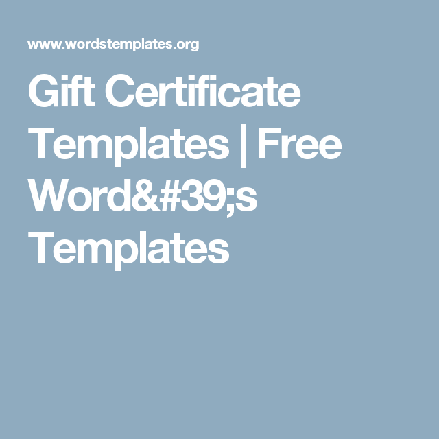 Gift Certificate Templates  Free WordS Templates  My Work