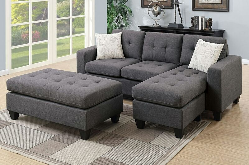 Poundex F6920 2 Pc Ebern Design Ithaica Daryl Blue Grey Polyfiber Fabric Reversible Sectional Sofa Set Chaise And Ottoman Fabric Sectional Sofas White Sectional Sofa Small Sectional Sofa