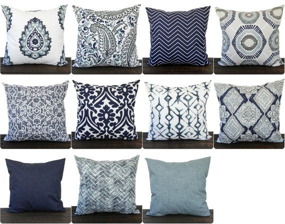 Throw Pillow Cover Vintage Indigo Navy Blue White Cushion Cover