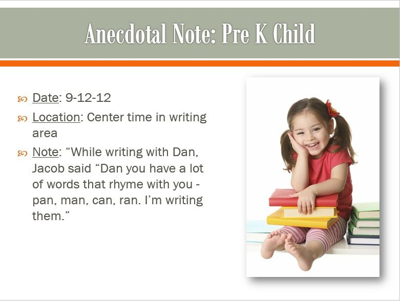 Anecdotal Note Sample PRESCHOOL Teaching Strategies Gold