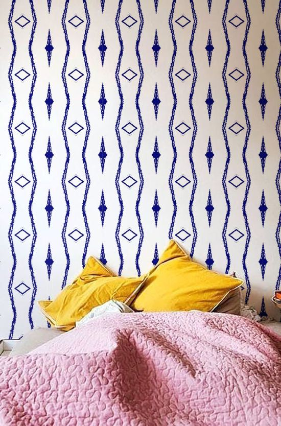 Peel-and-Stick Removable Wallpaper Kilim Modern Bohemian Boho Red Yellow
