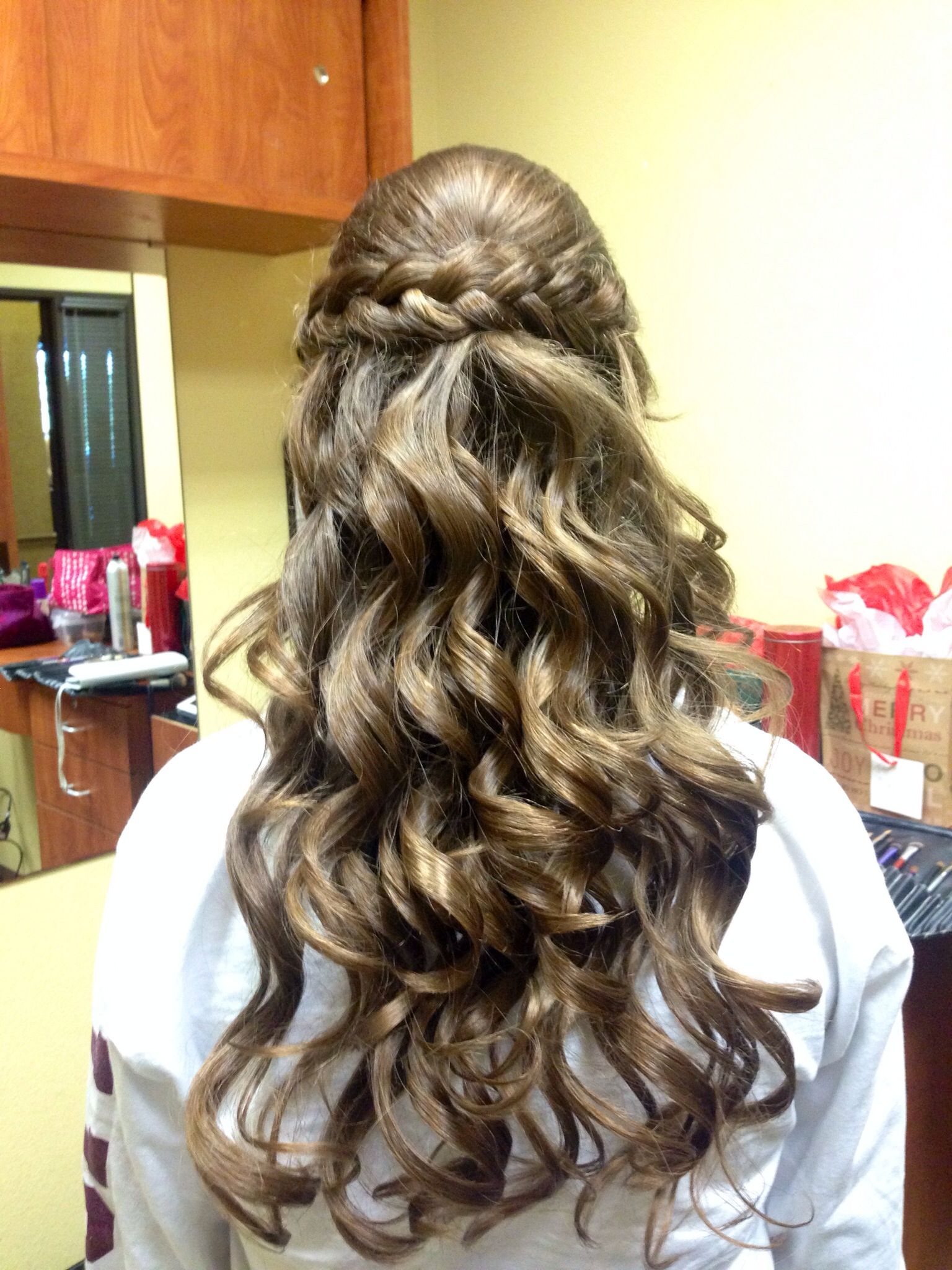half up half down w/ braid this is my sisters hair for a