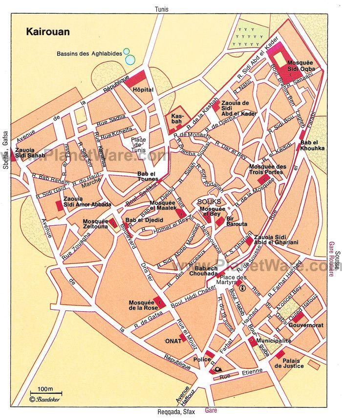 Map of Kairouan Attractions PlanetWare tunisia Pinterest