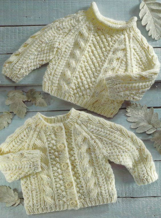 Aran Knitting Pattern Cardigan Sweater with cables Baby Girls Boys ...