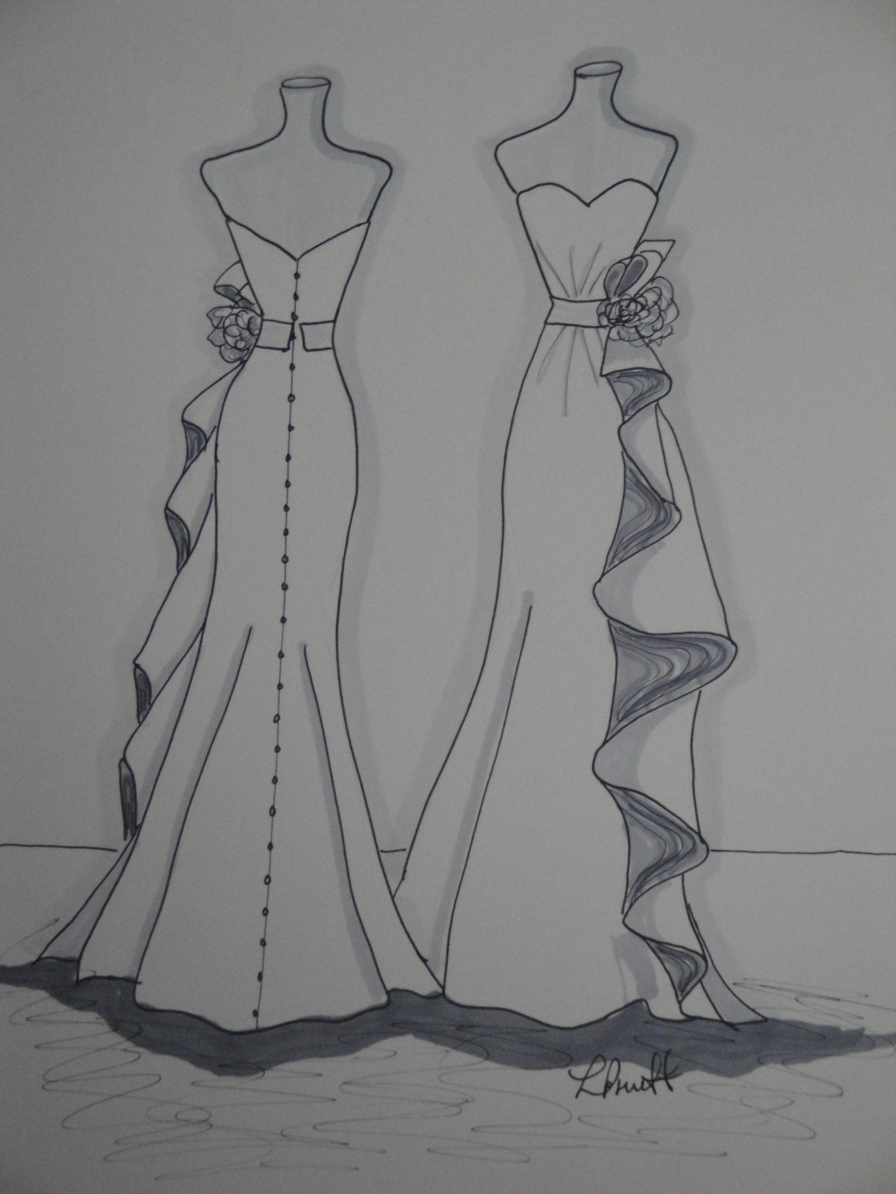 custom wedding dress front and back sketch by laura pruett of laura arts and