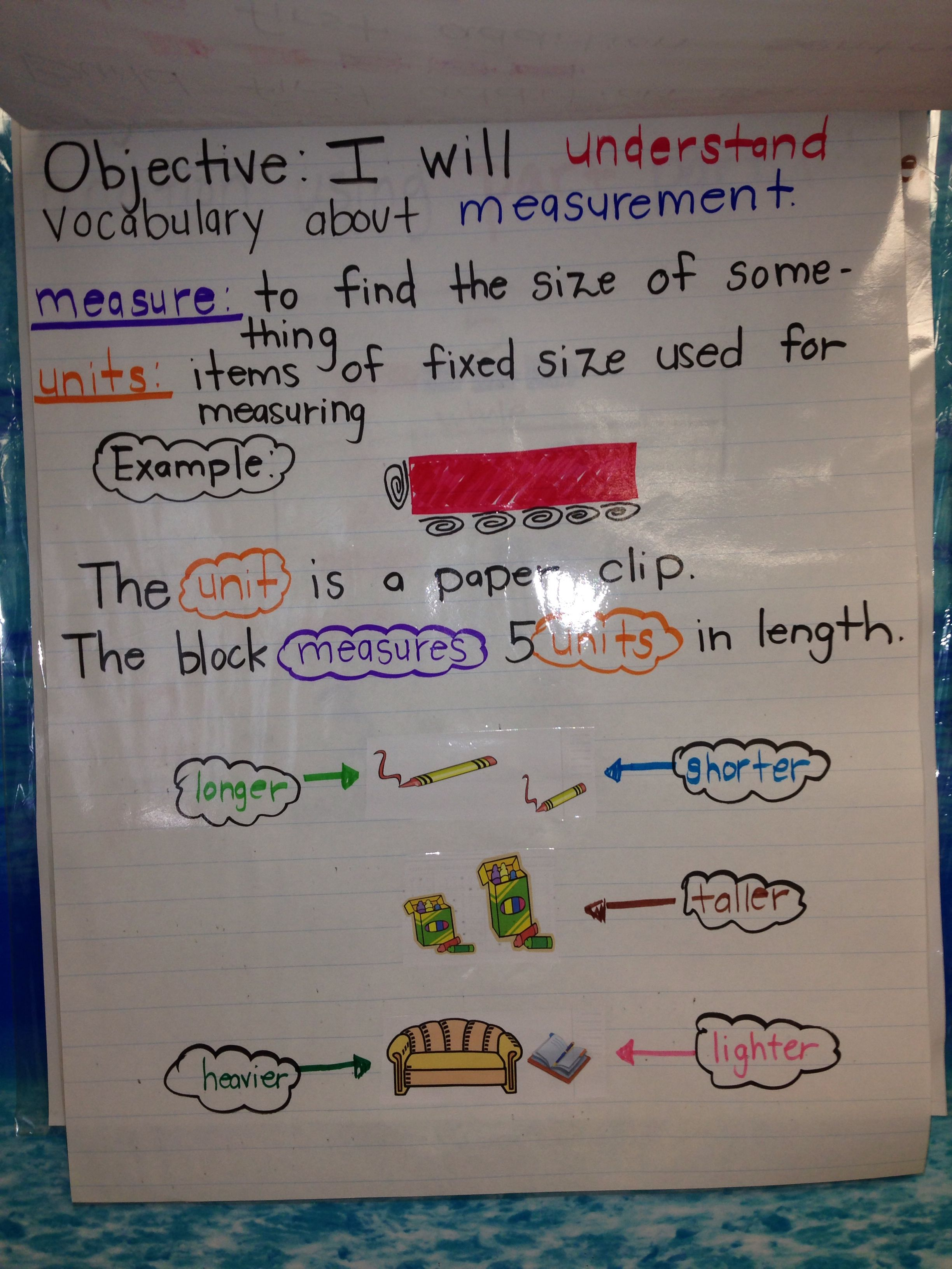 First Grade Math Measurement Vocabulary