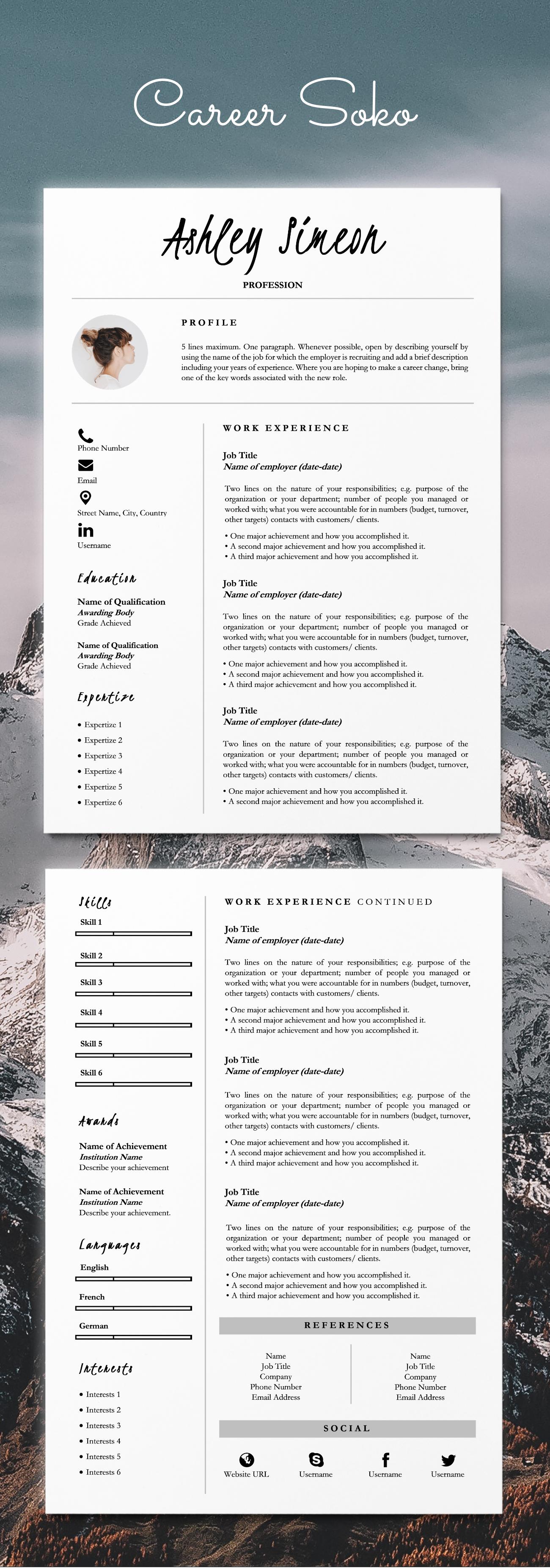 Minimalist Resume 2 Page Resume Template Cv Template Etsy Curriculum Vitae Curriculum Cv Gratuit