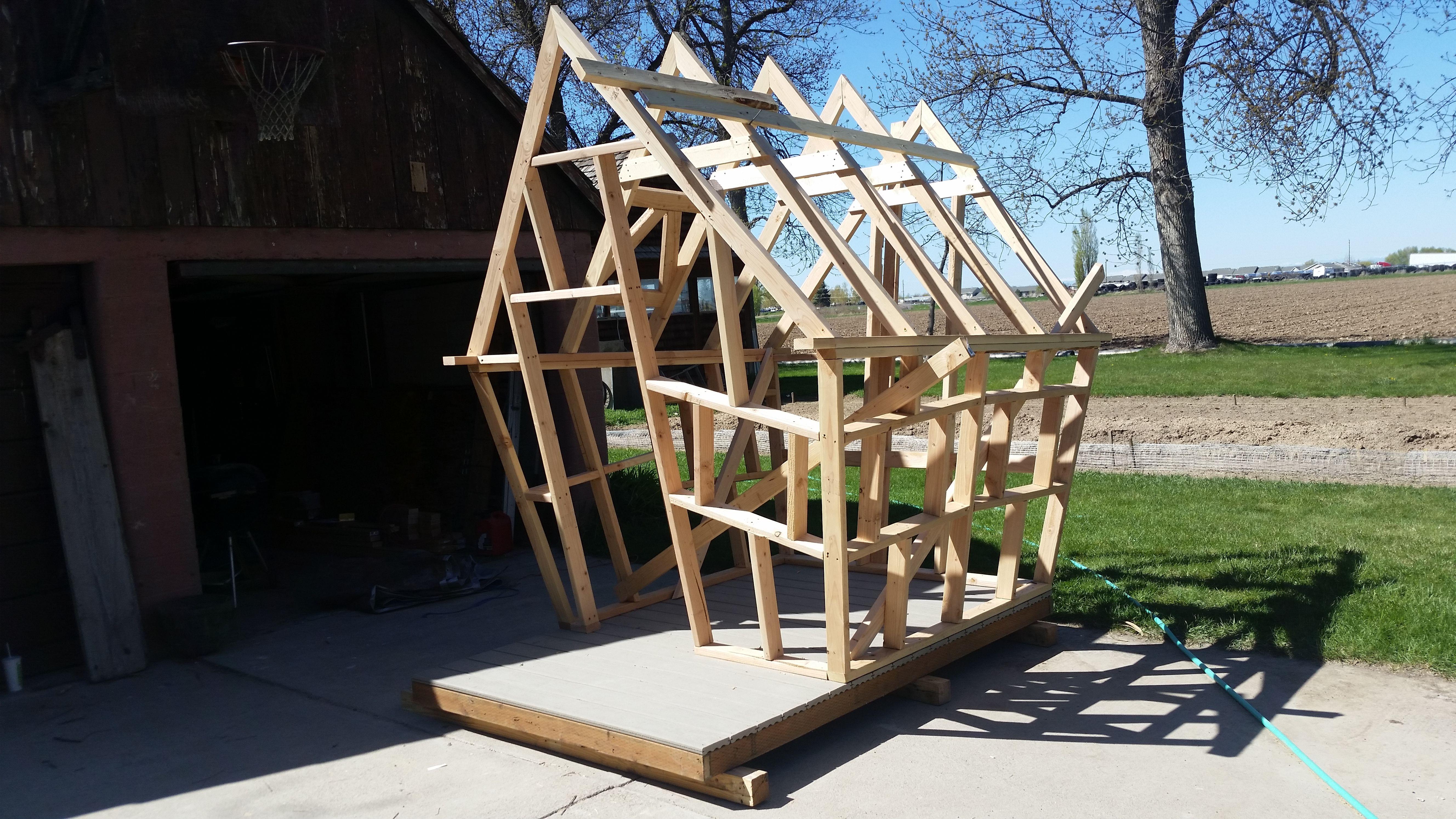 Timber Framework Of Kids Playhouse To Be Wooden House Plans Play Houses Small Wooden House