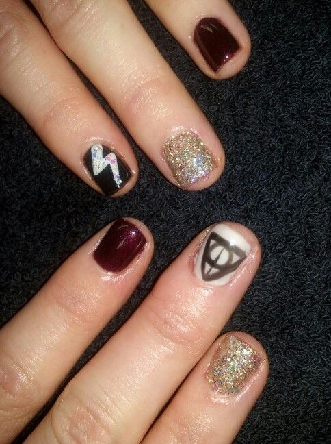 Nail art...Harry potter... deathly hollows... lighting... always! @amynoelsnails