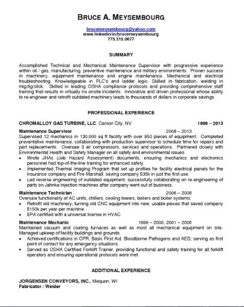 Maintenance Supervisor Resume -   getresumetemplateinfo/3300 - Maintenance Supervisor Resume Sample