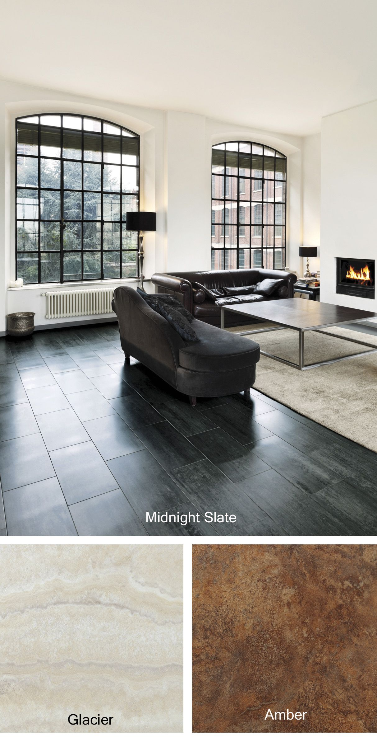 Living Room Ideas Make A Bold Statement With The Midnight Slate Sleek Black Luxury Vinyl Floor