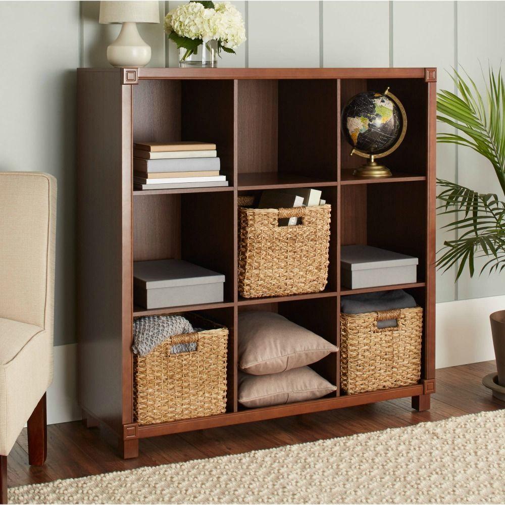 Bookcase 9 Cube Storage Wood Organizer Shelf Unit Living Room Furniture  Walnut #SpringStreet #Traditional