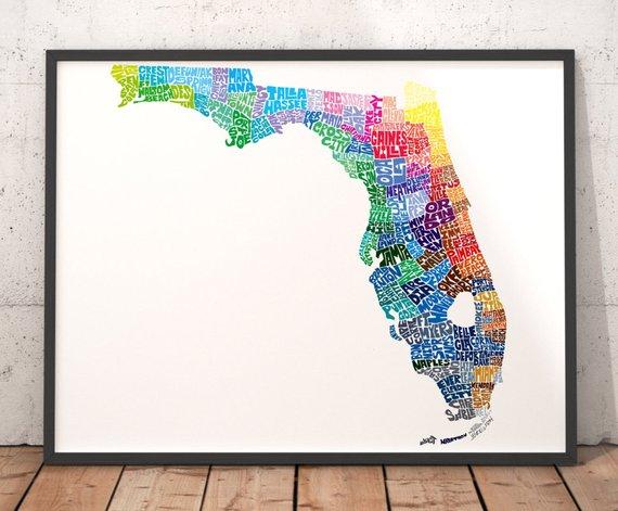 Florida Map Art Florida Art Print Florida Typography Map Map Of