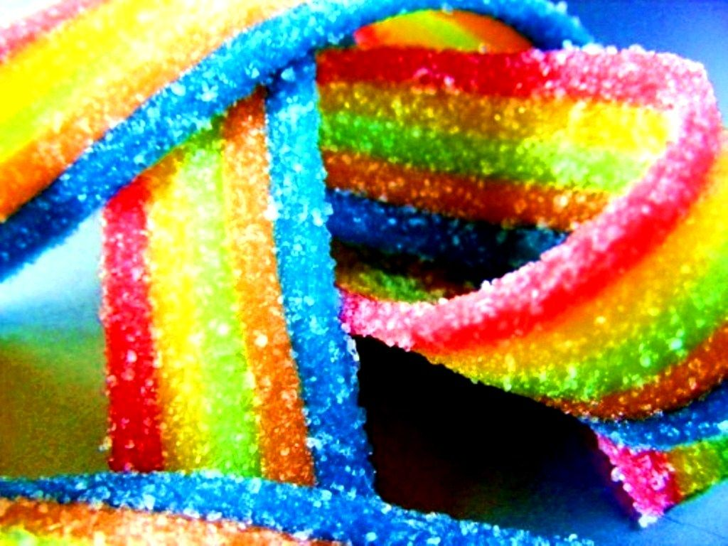 Rainbow color ribbon gummi candy | Candy pictures, Candy ...