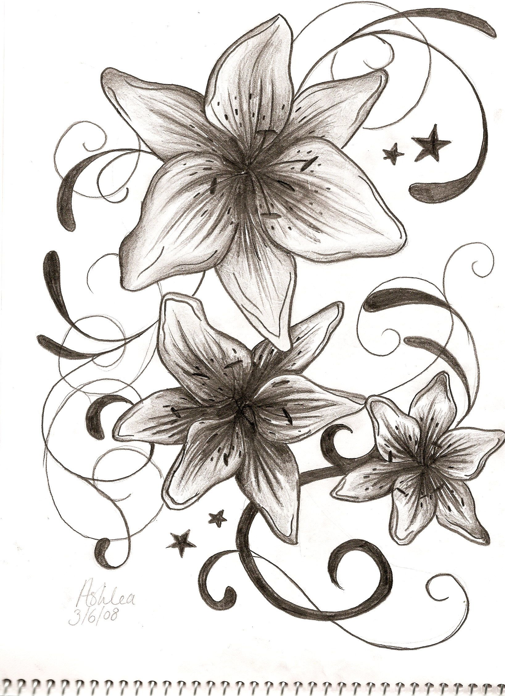 Design and Best Lily Tattoos Ideas For Girls Tribal Tattoos