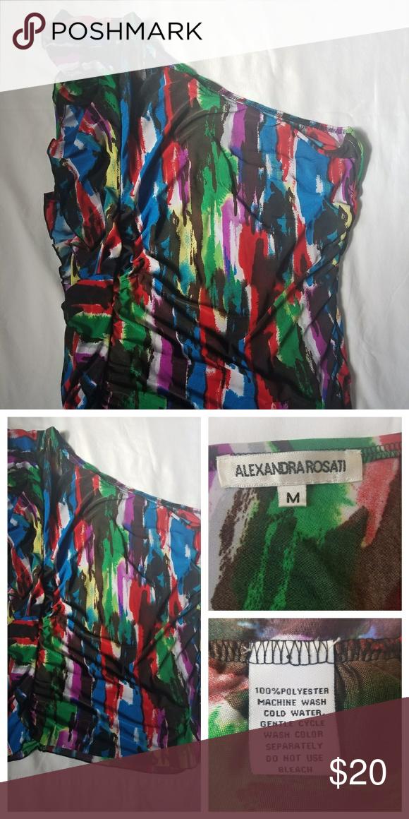 7c36861ee90f Alexandra Rosati One Shoulder Top This multi-color one shoulder top by  Alexandra Rosati is