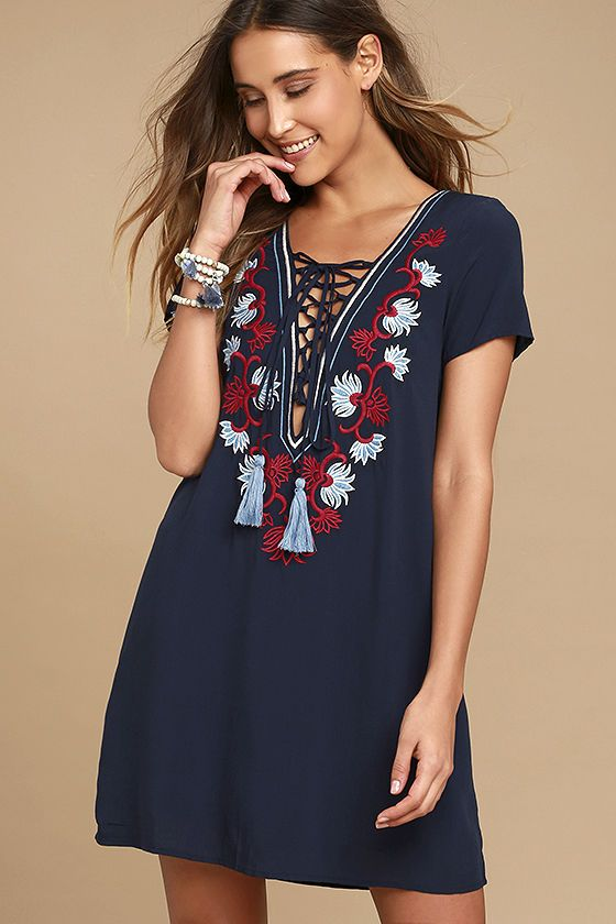 75b3e5255dca Dance to the song of the whispering breeze in the Lyrical Winds Navy Blue  Embroidered Lace-Up Dress! Lightweight woven rayon shift dress with short  sleeves ...