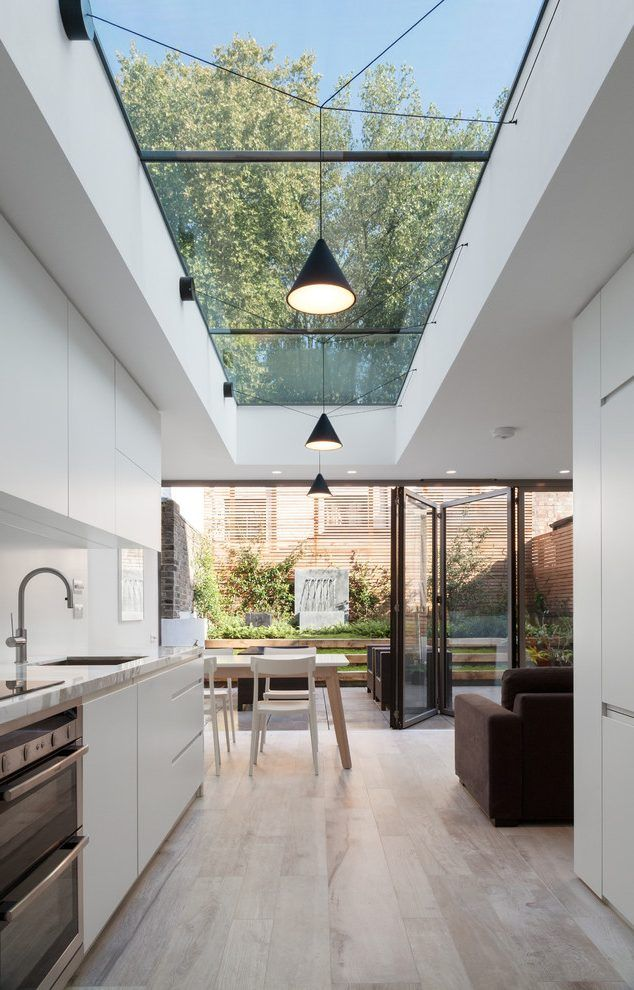 Kitchen With Skylights Kitchen Contemporary With White Cabinets .