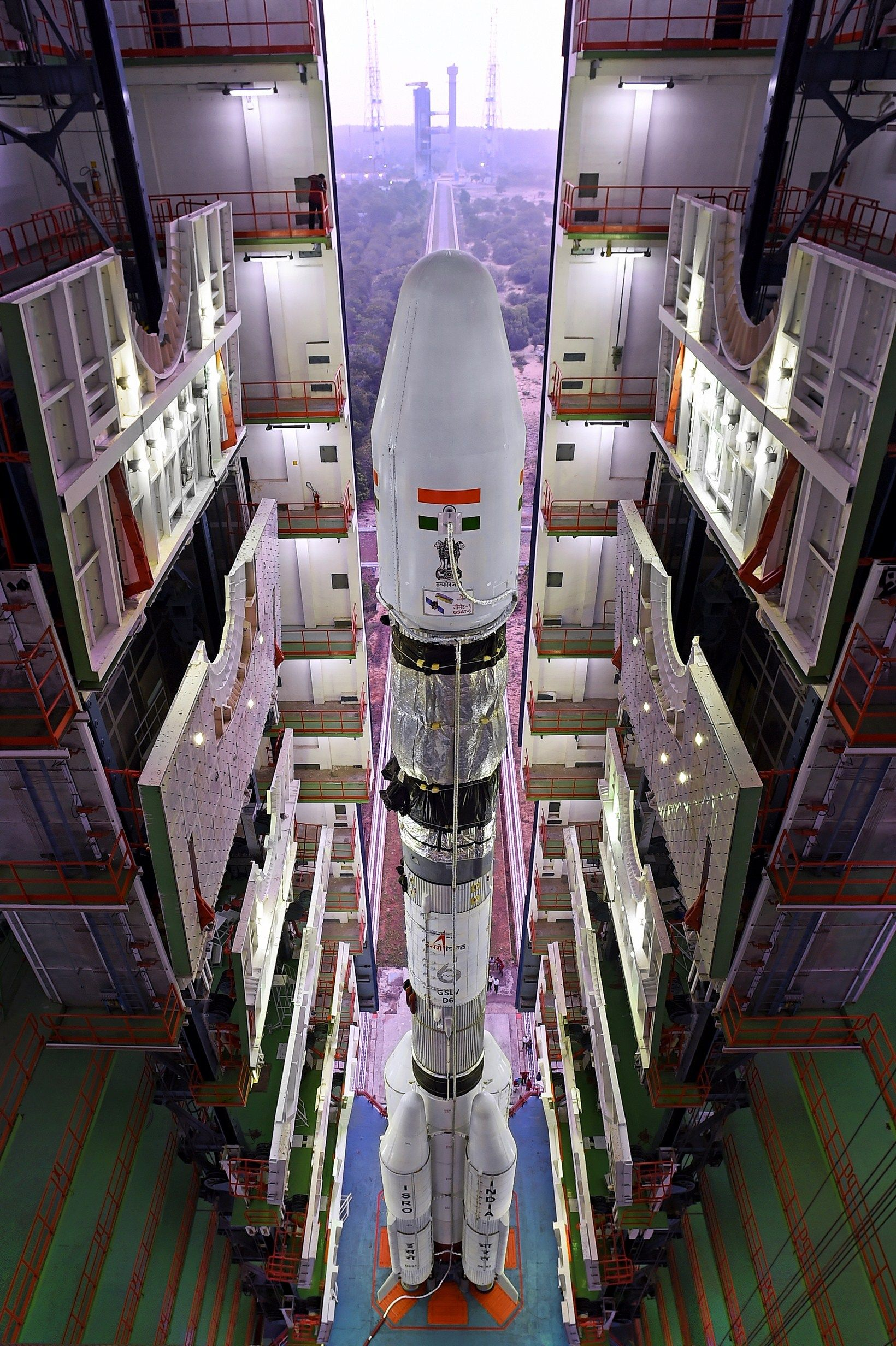 India's GSLV D6 from the top of vehicle assembly building
