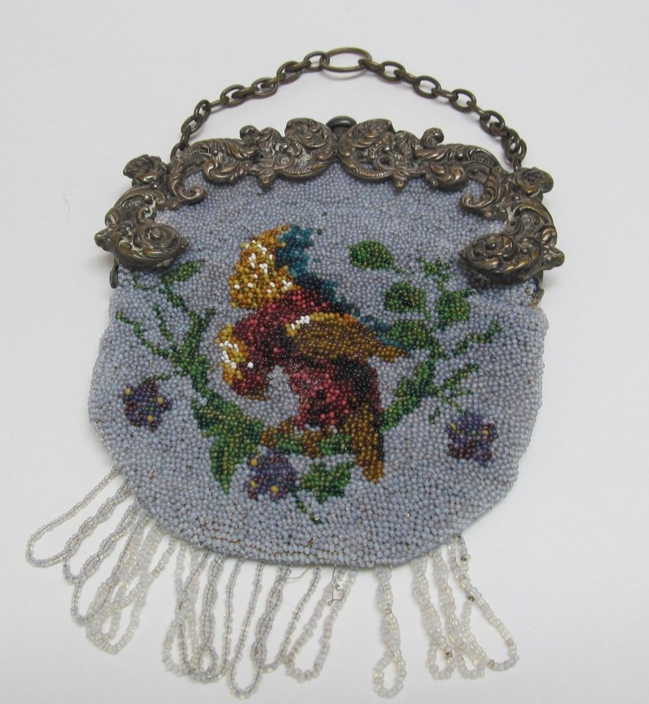 Antique Victorian Leather & Beaded Bird on Branch CHATELAINE PURSE German Silver #Handmade #Chatelaine