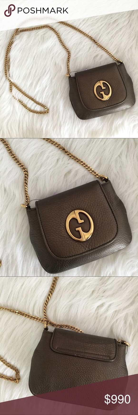 62fe4f441f0e0f Gucci cross body gold chain bag purse🍕❤ Vintage Gucci crossbody bag. 1973  vintage Slight signs of wear inside to suede but otherwise bag is in  stunning ...