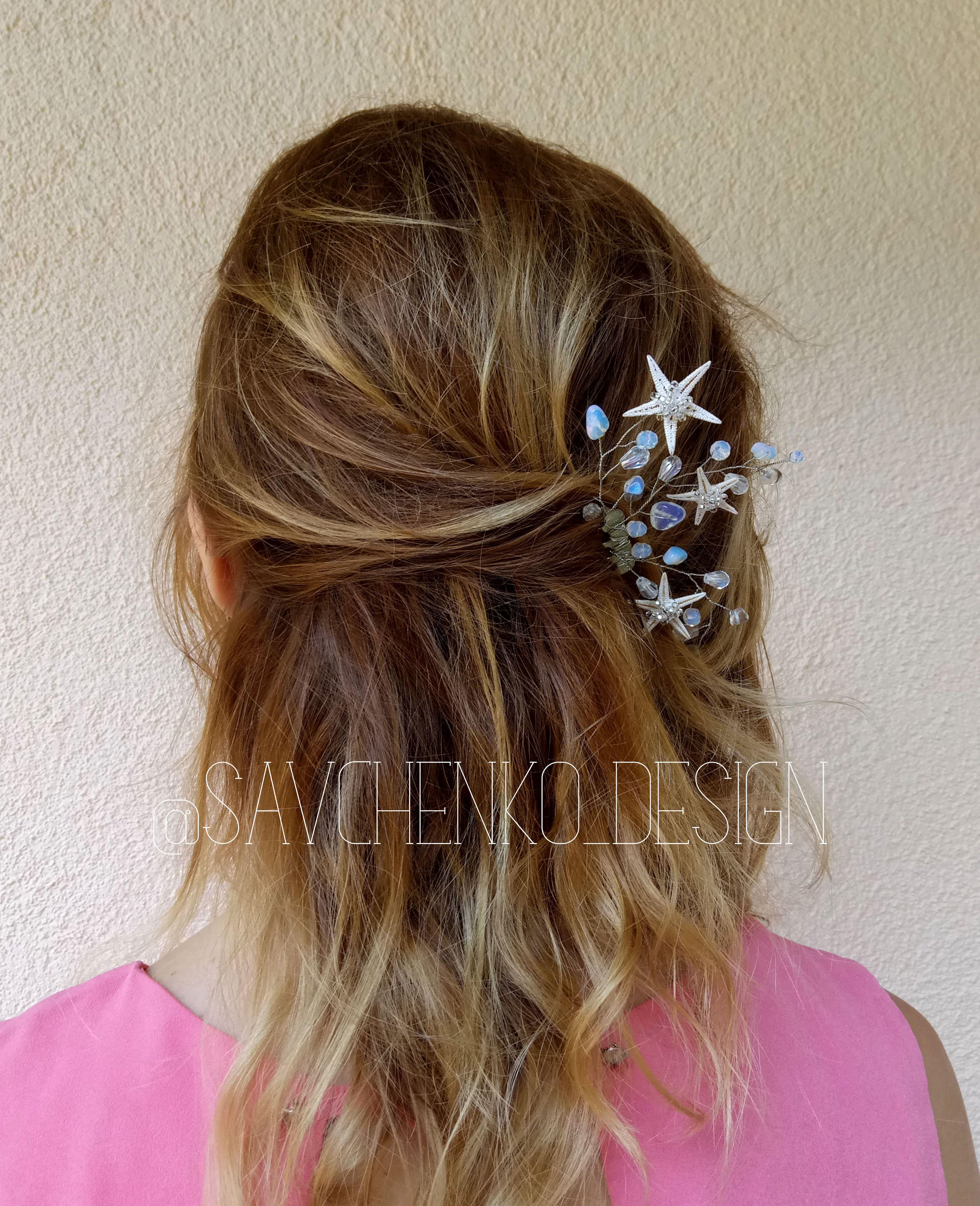 Starfish Hair Clip Aqua Blue Starfish Headpiece Starfish Hair Comb Moonstone Hair Clip Rose Gold Hair Accessories Starfish Hair Clip Starfish Hair Comb