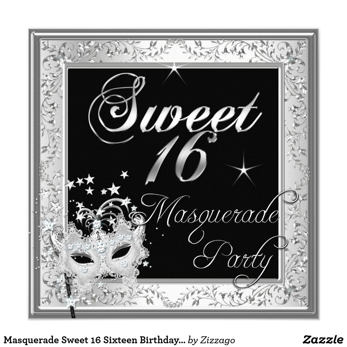 Masquerade Sweet 16 Sixteen Birthday Black White Card | Sixteenth ...