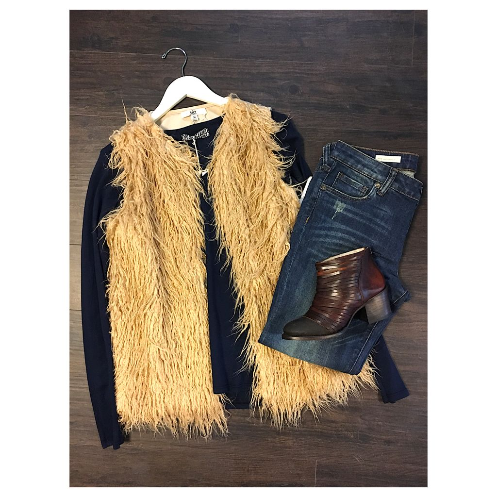 Shearling is so stylish! FEATURED ITEMS: YA Los Angeles shearling vest $33.59, Groceries long sleeve $33.39, KUT From The Kloth jeans $64.89, FreeBird Cain boots $234 #LunaChild #Outfit #Shearling