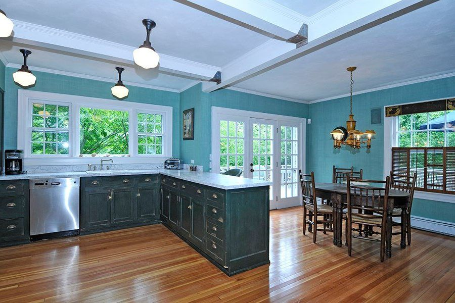 Blue Kitchen Cabinets Cream Curved Wooden Computer Desk White L ..