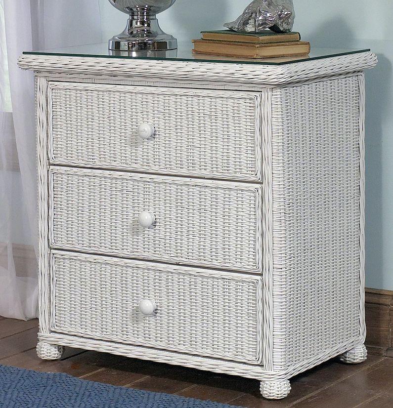 Wicker 3 Drawer Dresser Elana Wicker Paradise White