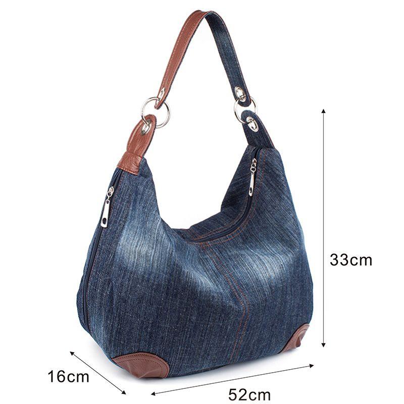 89b5907f3 Grande Denim sacos de mão senhoras mulheres bolsa Hobo Big bolsas e bolsas  Jean Tote Shopper saco do mensageiro Cross body bolsa de ombro em Sacos de  ombro ...
