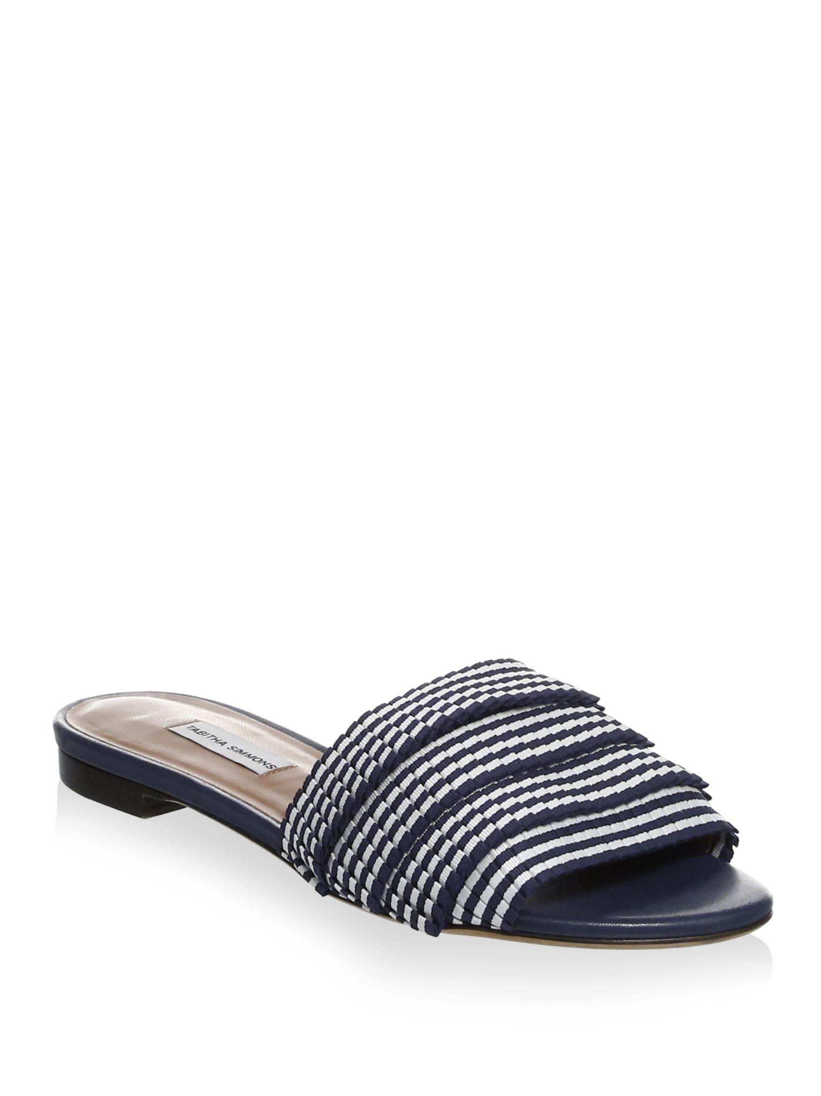 Tabitha Simmons Pleated Striped Slides I1ZgqnY