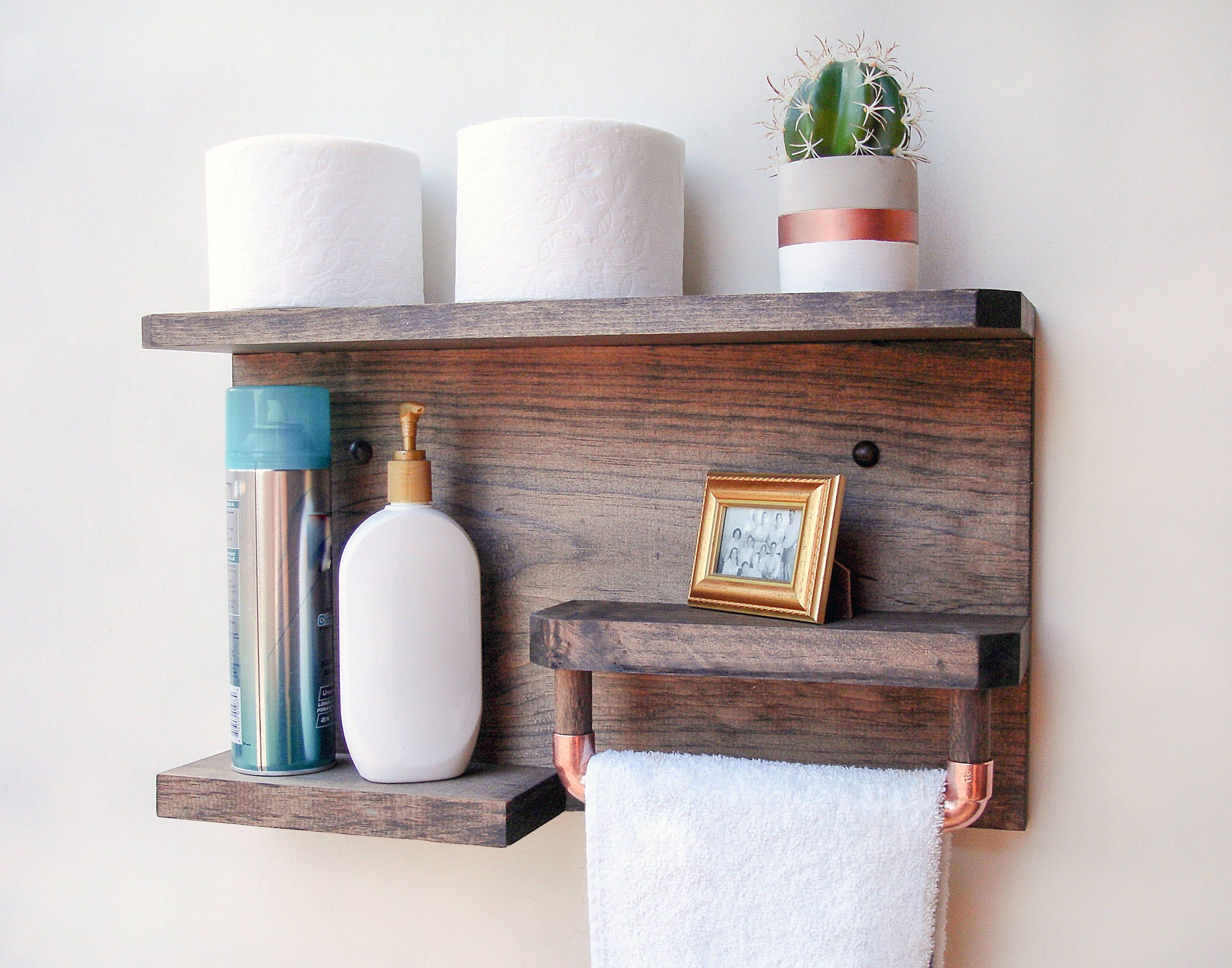 28 Bathroom Storage Shelf With Modern Towel Hooks Bathroom