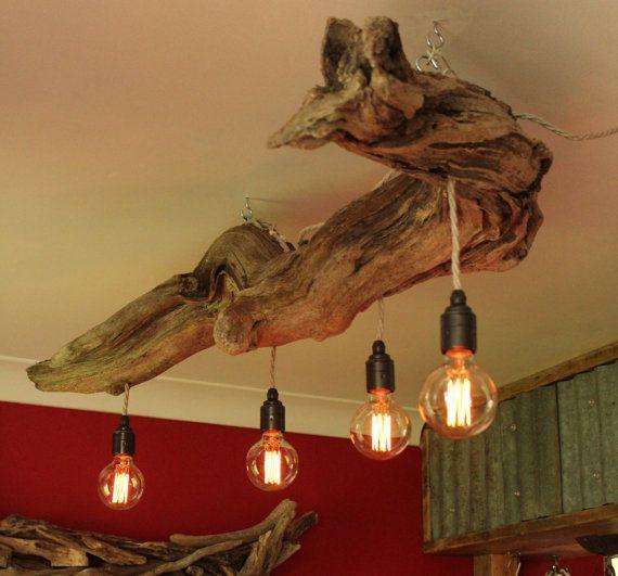 Driftwood Chandelier Vinatge Filament Bulbs Vintage