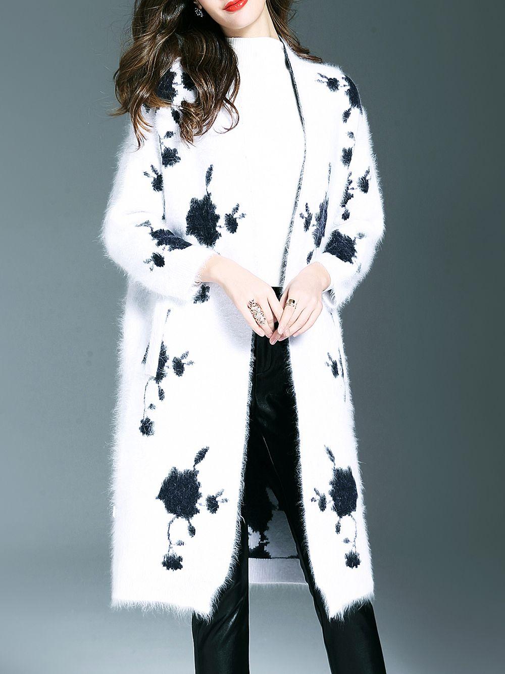 White Mohair Pockets Long Coat -SheIn(Sheinside)