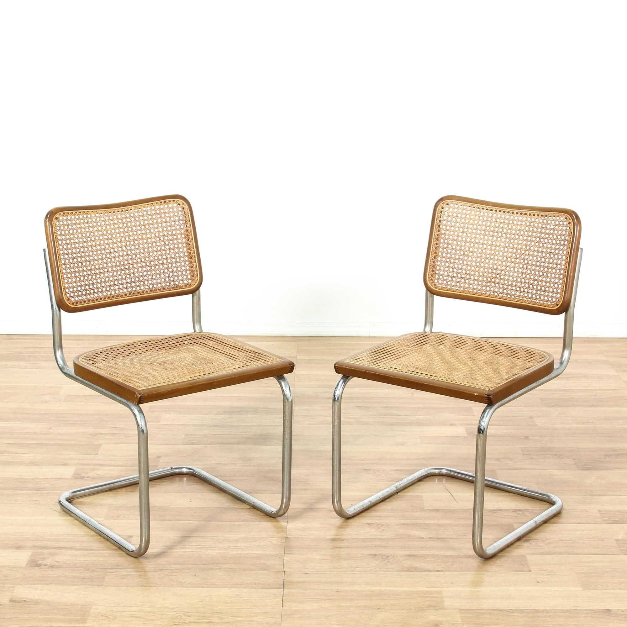 This pair of marcel breuer cesca style chairs are featured for Modern metal chairs