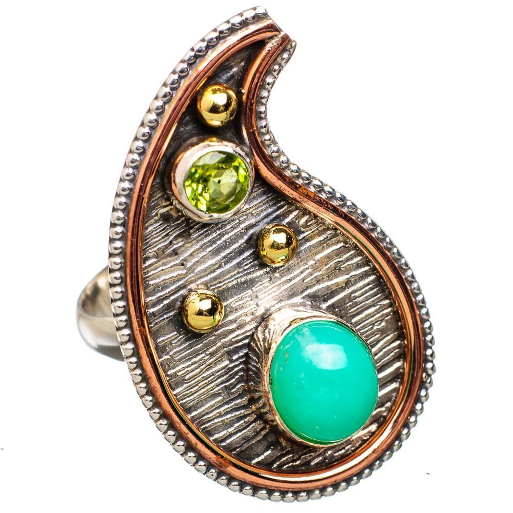 Ana Silver Co Large Chrysoprase, Peridot 925 Sterling Silver Ring Size 8.25 RING821780