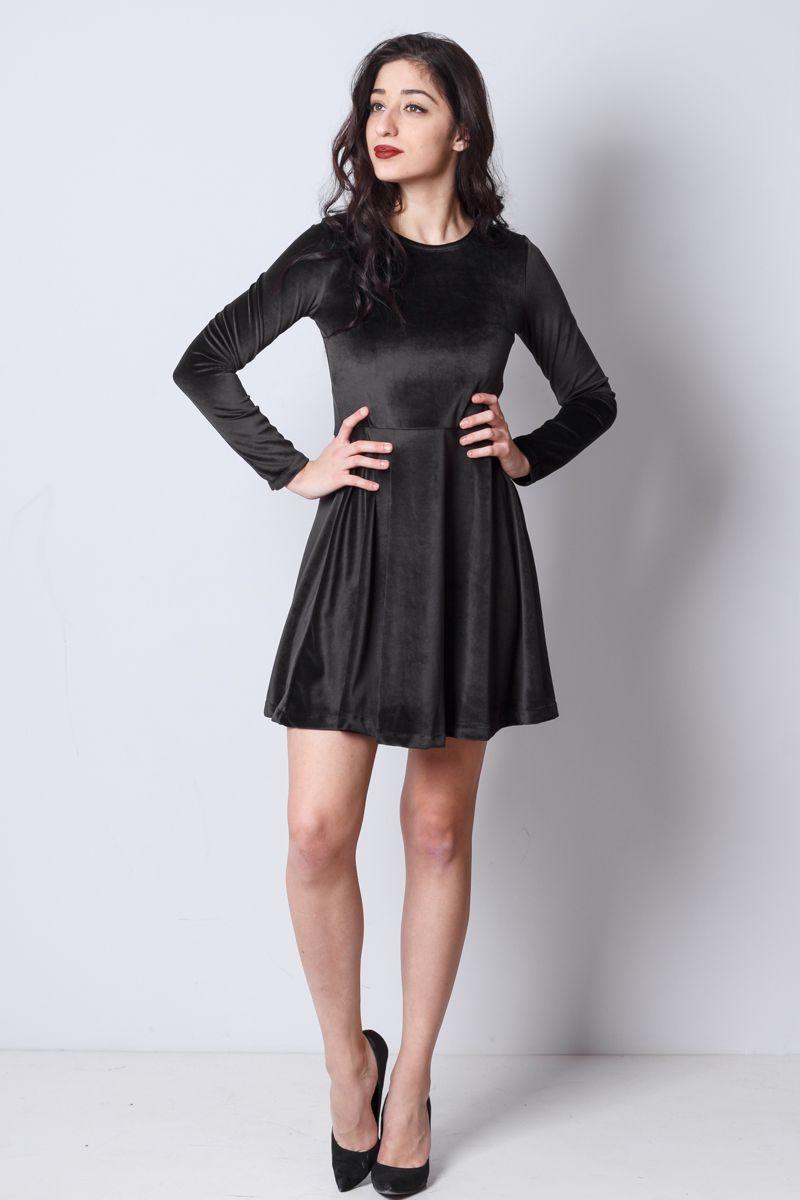 fc15d6a7de88 Βελούδινο φόρεμα με στρογγυλή λαιμόκοψη
