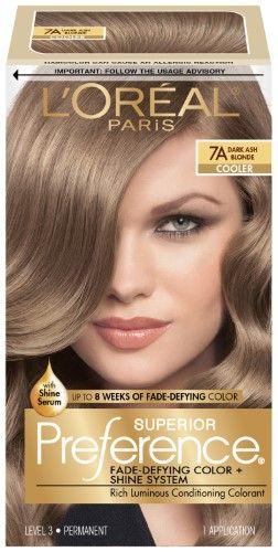 L Oreal Paris Superior Preference Fade Defying Color Shine System 7a Dark Ash Blonde 1 Kit Dark Ash Blonde Hair Dyed Blonde Hair Dark Ash Blonde Hair Dye