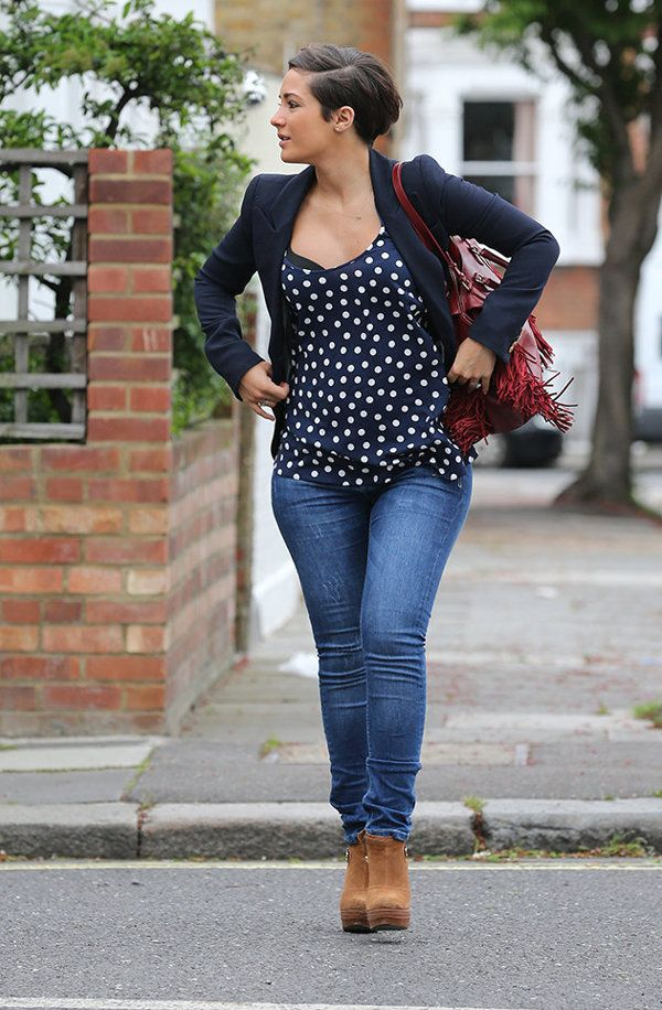 44f9d1af538c4 Frankie Sandford pregnancy fashion: Frankie is sticking to her smart style  and heels despite being pregnant. Copyright [Splash]   Frankie Sandford's  ...