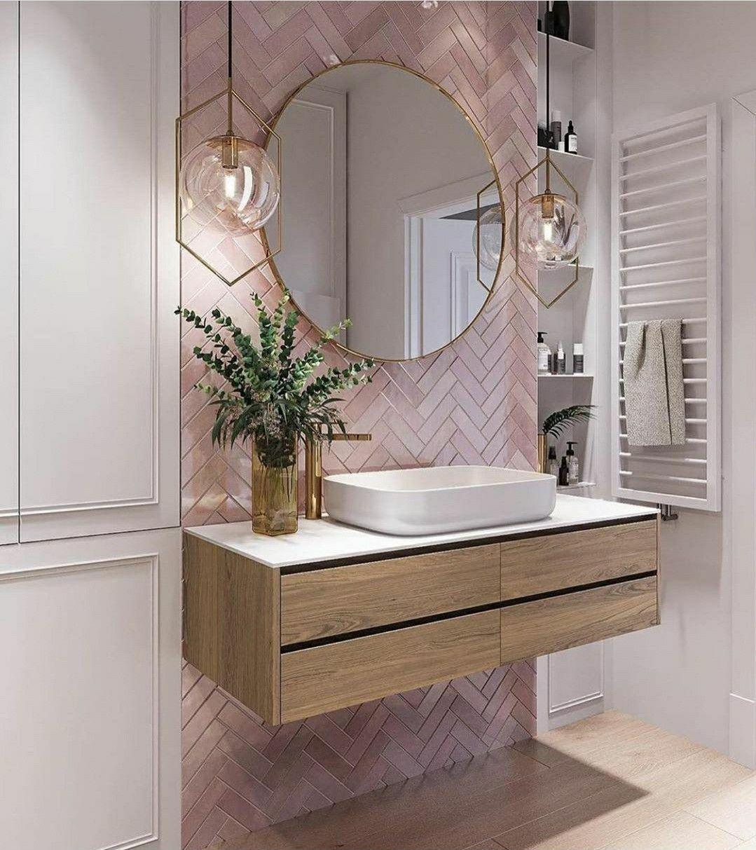 pinmona on bathrooms in 2020  pink bathroom tiles