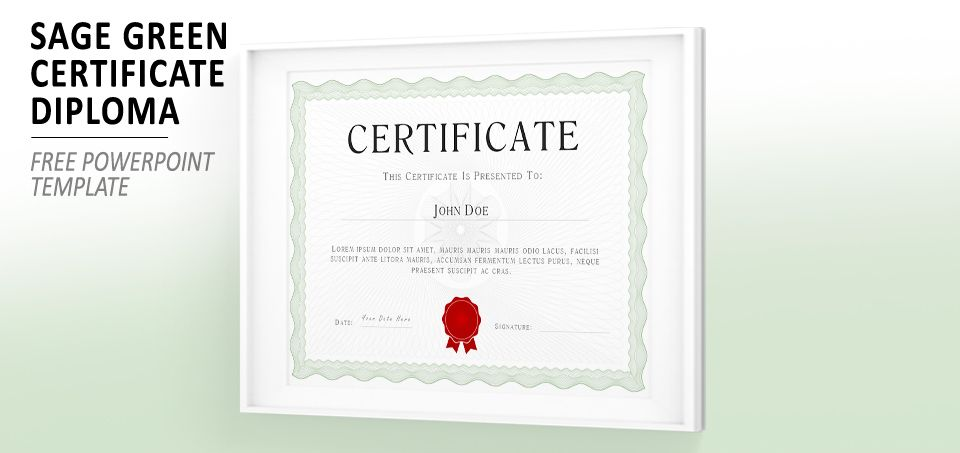 Sage Green Powerpoint Certificate Diploma Template  Templates For