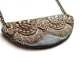 bronze chantilly lace, polymer clay jewelry. <3