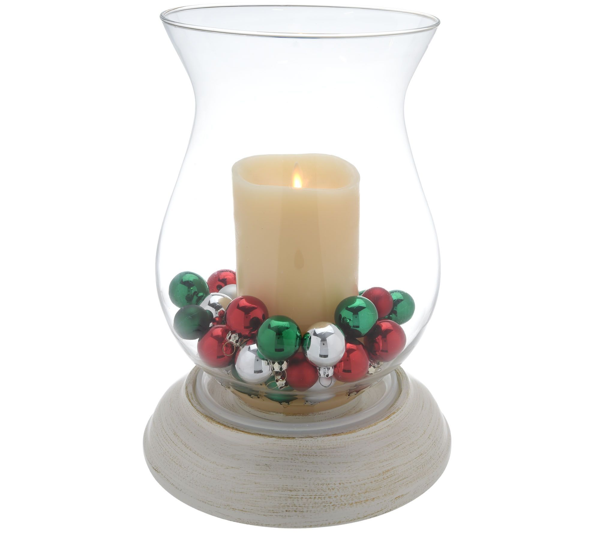 Qvc Flameless Candles Interesting Luminara Hurricane With Flameless Candle And Two Seasonal Fills Inspiration Design